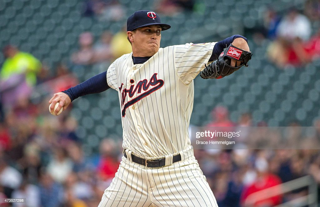 Kyle Gibson of the Minnesota Twins pitches against the Oakland Athletics on May 7 2015 at Target Field in Minneapolis Minnesota The Twins defeated...