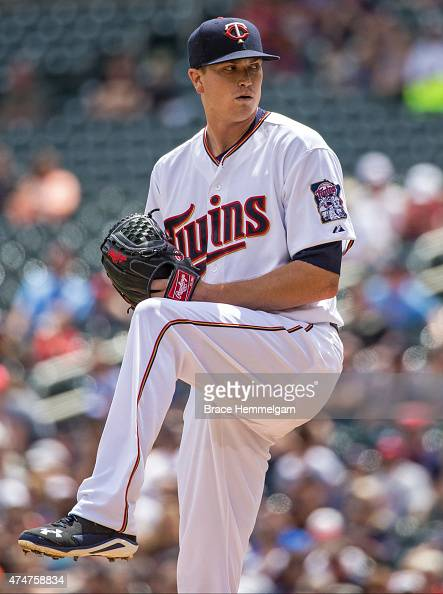 Kyle Gibson of the Minnesota Twins pitches against the Tampa Bay Rays on May 17 2015 at Target Field in Minneapolis Minnesota The Rays defeated the...