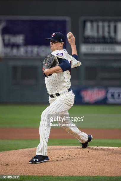 Kyle Gibson of the Minnesota Twins pitches against the Texas Rangers on August 5 2017 at Target Field in Minneapolis Minnesota The Rangers defeated...
