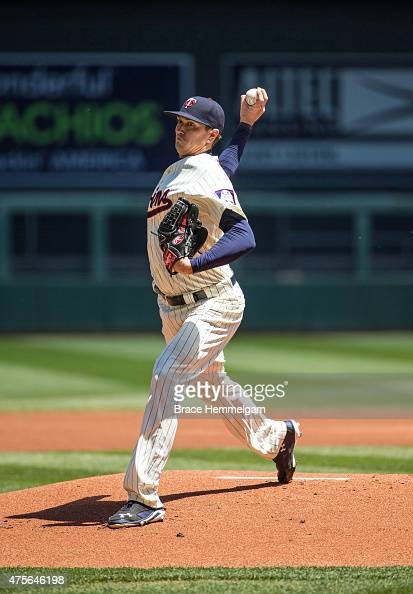 Kyle Gibson of the Minnesota Twins pitches against the Toronto Blue Jays on May 30 2015 at Target Field in Minneapolis Minnesota The Twins defeated...