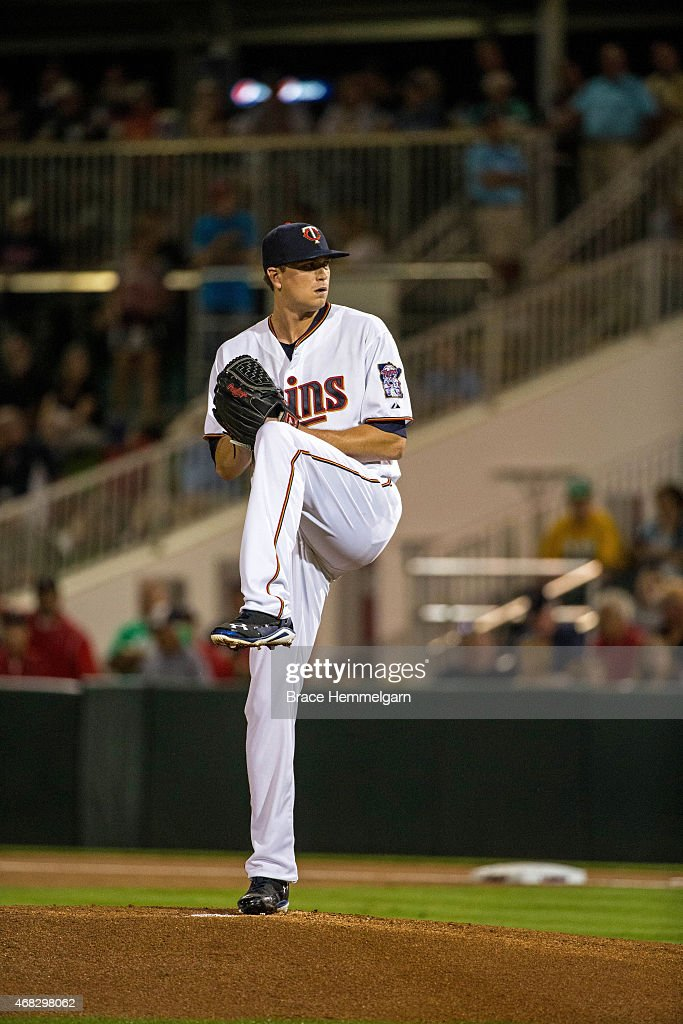 Kyle Gibson of the Minnesota Twins pitches during a Grapefruit League spring training game against the Boston Red Sox on March 5 2015 at the...