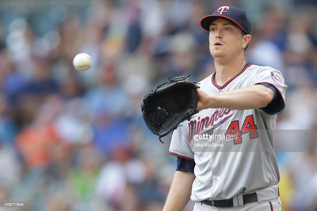 Kyle Gibson of the Minnesota Twins pitches during the first inning against the Milwaukee Brewers during the Interleague game at Miller Park on June...