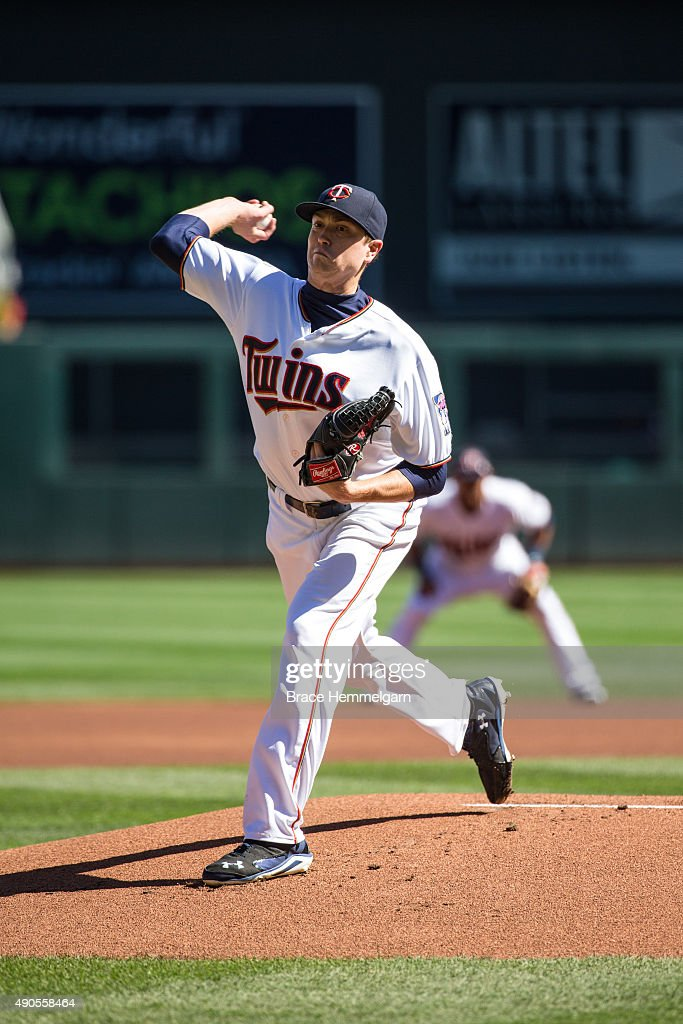 Kyle Gibson of the Minnesota Twins pitches in the first game of a doubleheader against the Los Angeles Angels on September 19 2015 at Target Field in...