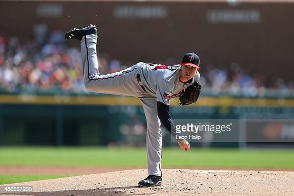 Kyle Gibson of the Minnesota Twins pitches in the first inning of the game against the Detroit Tigers at Comerica Park on September 28 2014 in...