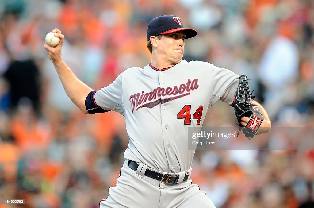 Kyle Gibson of the Minnesota Twins pitches in the first inning against the Baltimore Orioles at Oriole Park at Camden Yards on August 22 2015 in...
