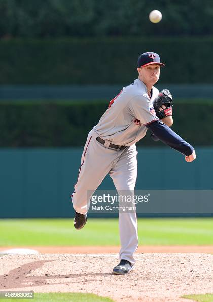 Kyle Gibson of the Minnesota Twins throws a warmup pitch during the game against the Detroit Tigers at Comerica Park on September 28 2014 in Detroit...