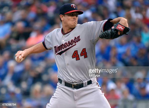 Kyle Gibson of the Minnesota Twins throws in the first inning against the Kansas City Royals at Kauffman Stadium on July 2 2015 in Kansas City...