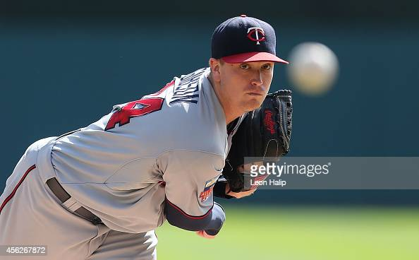 Kyle Gibson of the Minnesota Twins warms up prior to the start of the game against the Detroit Tigers at Comerica Park on September 28 2014 in...