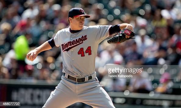 Kyle Gibson pitches against the Chicago White Sox pitches in the third inning of play at US Cellular Field on September 13 2015 in Chicago Illinois
