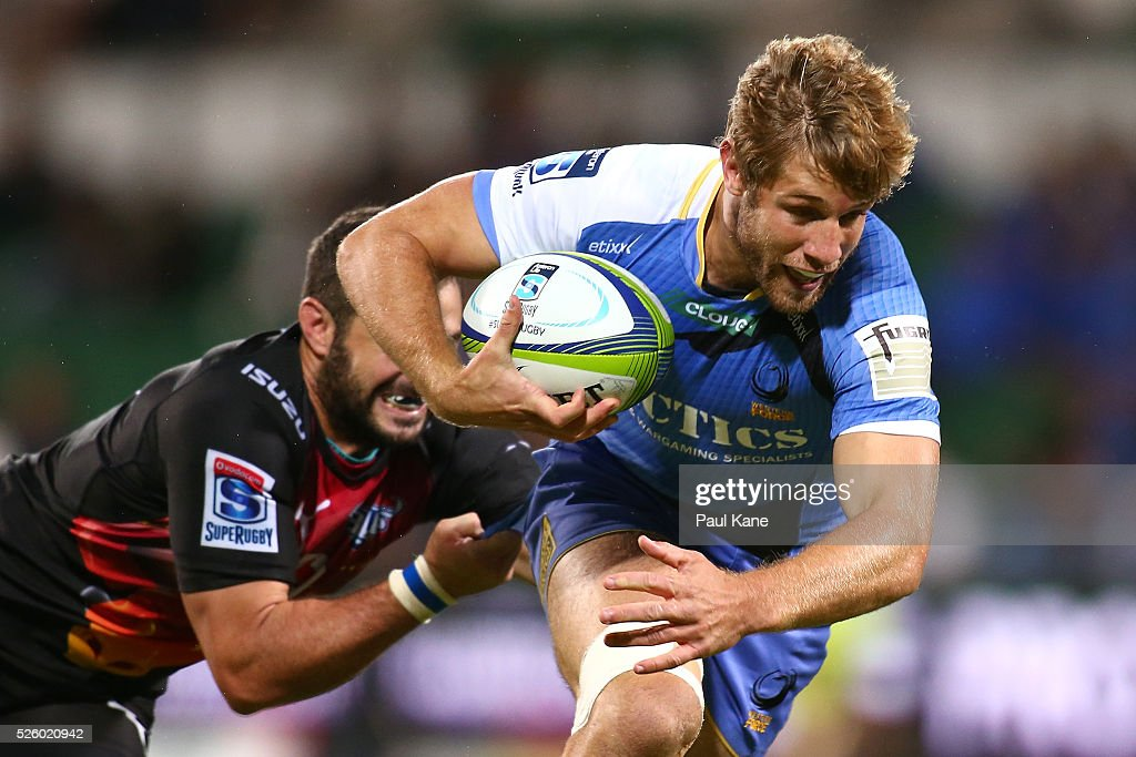 Kyle Godwin of the Force looks to break from a tackle during the round 10 Super Rugby match between the Force and the Bulls at nib Stadium on April 29, 2016 in Perth, Australia.