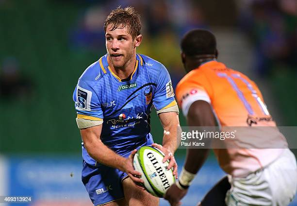 Kyle Godwin of the Force looks to pass the ball during the round nine Super Rugby match between the Force and the Cheetahs at nib Stadium on April 11...