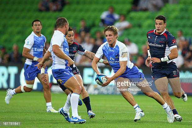 Kyle Godwin of the Force runs with the ball during the round one Super Rugby match between the Rebels and the Force at AAMI Park on February 15 2013...