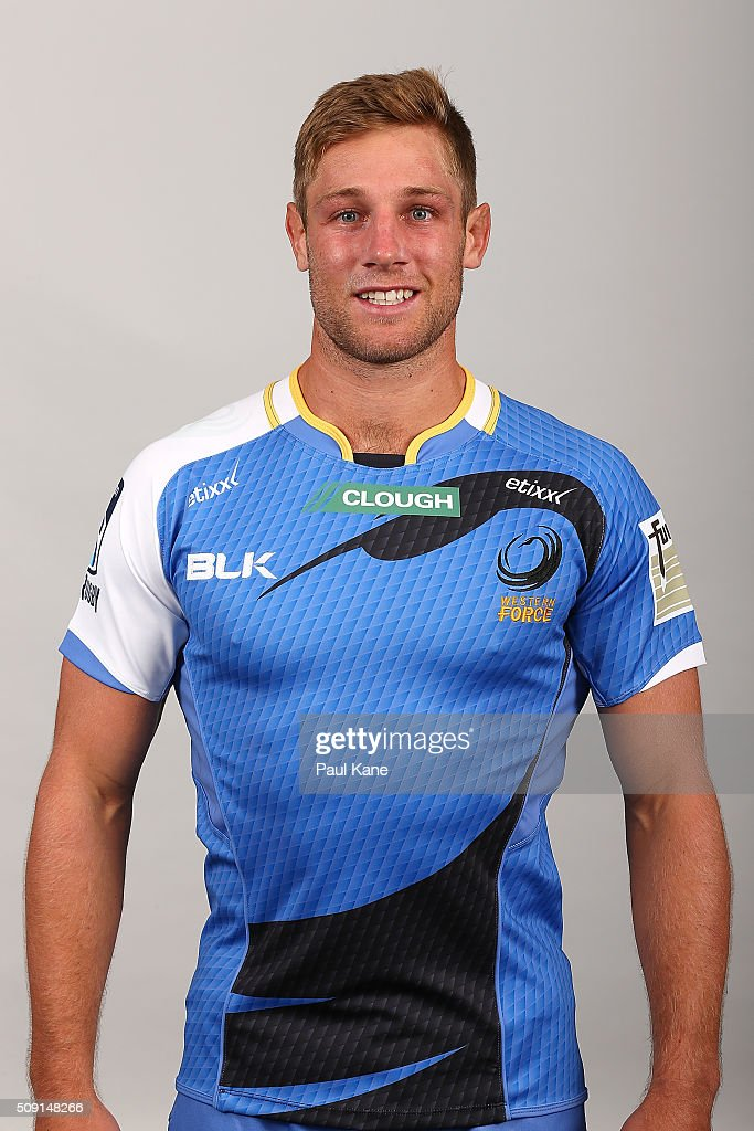 Kyle Godwin poses during the Western Force 2016 Super Rugby headshots session on February 9, 2016 in Perth, Australia.