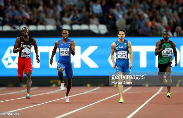 Kyle Greaux of Trinidad and Tobago Jeremy Dodson of Samoa Filippo Tortu of Italy and Akani Simbine of South Africa compete in the Men's 200 metres...