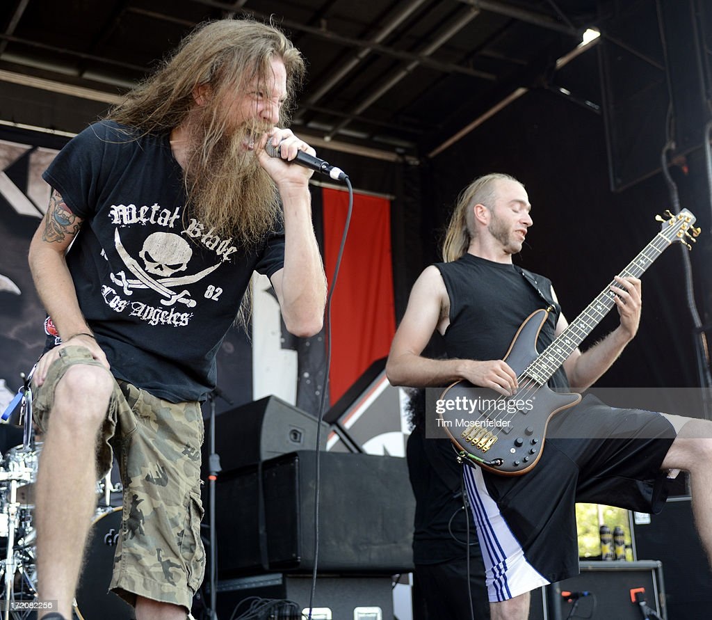 Kyle 'Gumby' Gunther (L) of Battlecross performs as part of the Rockstar Energy Drink Mayhem Festival at Shoreline Amphitheatre on June 30, 2013 in Mountain View, California.