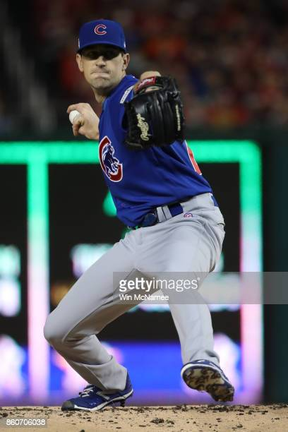 Kyle Hendricks of the Chicago Cubs delivers a pitch against the Washington Nationals during the first inning in game five of the National League...