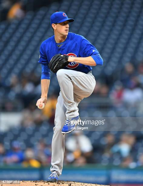 Kyle Hendricks of the Chicago Cubs in action during the game against the Pittsburgh Pirates at PNC Park on April 25 2017 in Pittsburgh Pennsylvania