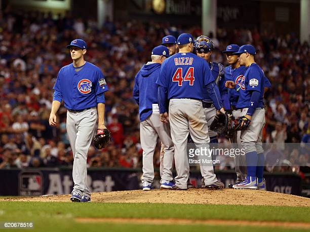 Kyle Hendricks of the Chicago Cubs is taken out of the game in the bottom of the fifth inning of Game 7 of the 2016 World Series against the...