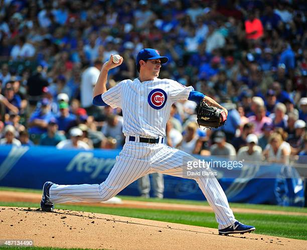Kyle Hendricks of the Chicago Cubs pitches against the Arizona Diamondbacks during the first inning on September 6 2015 at Wrigley Field in Chicago...