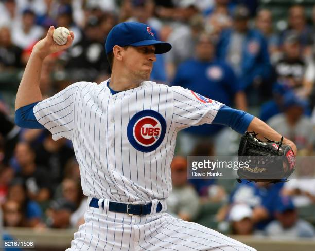 Kyle Hendricks of the Chicago Cubs pitches against the Chicago White Sox during the first inning on July 24 2017 at Wrigley Field in Chicago Illinois