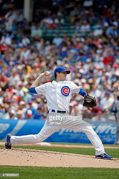 Kyle Hendricks of the Chicago Cubs pitches against the Miami Marlins during the third inning at Wrigley Field on July 5 2015 in Chicago Illinois