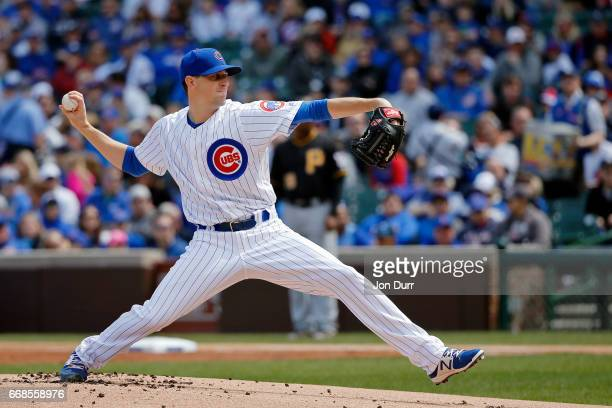 Kyle Hendricks of the Chicago Cubs pitches against the Pittsburgh Pirates during the first inning at Wrigley Field on April 14 2017 in Chicago...
