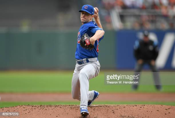 Kyle Hendricks of the Chicago Cubs pitches against the San Francisco Giants in the bottom of the second inning at ATT Park on August 9 2017 in San...