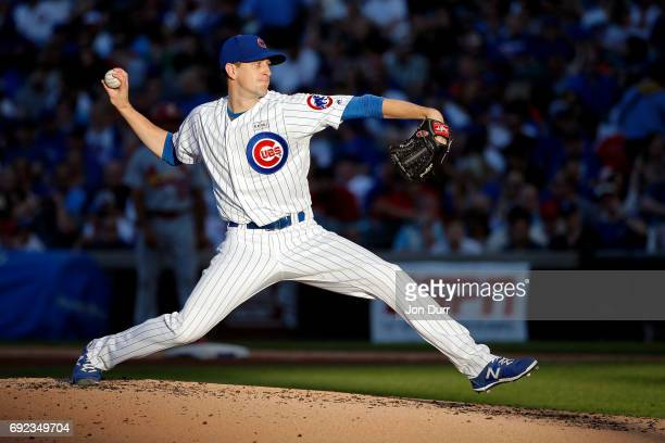 Kyle Hendricks of the Chicago Cubs pitches against the St Louis Cardinals during the fourth inning at Wrigley Field on June 4 2017 in Chicago Illinois