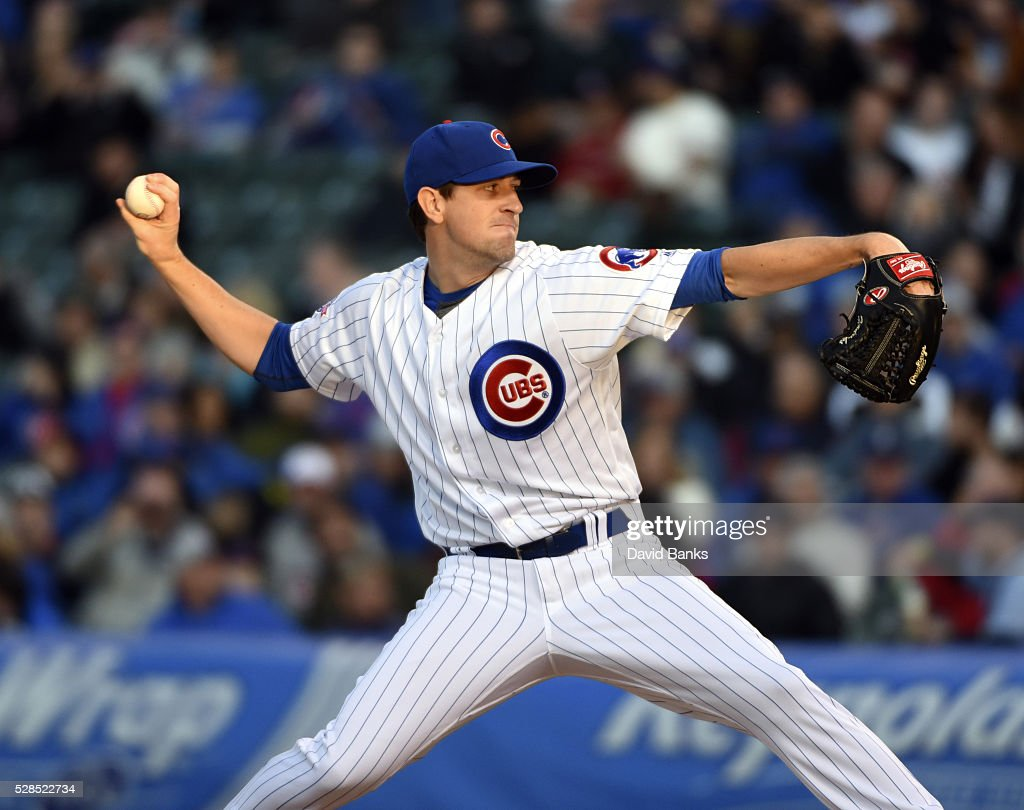 <a gi-track='captionPersonalityLinkClicked' href=/galleries/search?phrase=Kyle+Hendricks&family=editorial&specificpeople=9130544 ng-click='$event.stopPropagation()'>Kyle Hendricks</a> #28 of the Chicago Cubs pitches against the Washington Nationals during the first inning on May 5, 2016 at Wrigley Field in Chicago, Illinois.