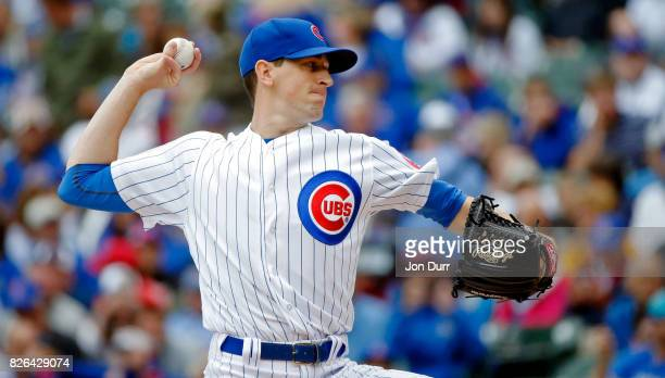 Kyle Hendricks of the Chicago Cubs pitches against the Washington Nationals during the first inning at Wrigley Field on August 4 2017 in Chicago...