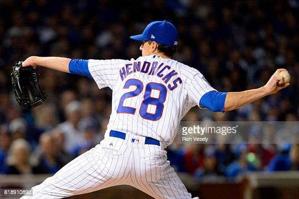 Kyle Hendricks of the Chicago Cubs pitches during Game 3 of the 2016 World Series against the Cleveland Indians at Wrigley Field on Friday October 28...