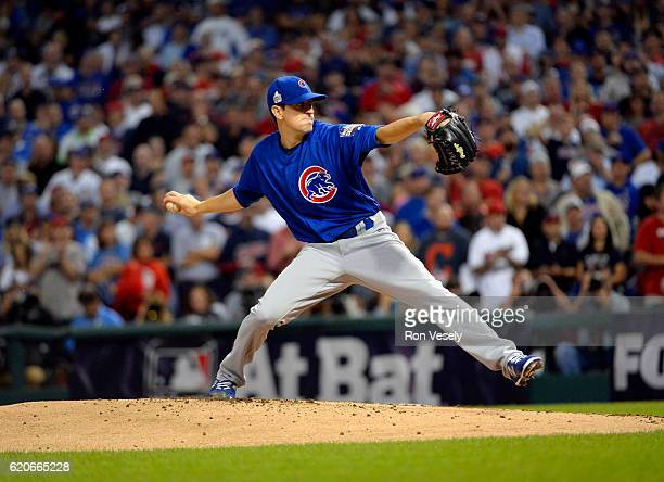 Kyle Hendricks of the Chicago Cubs pitches during Game 7 of the 2016 World Series against the Cleveland Indians at Progressive Field on Wednesday...