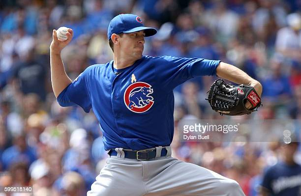 Kyle Hendricks of the Chicago Cubs pitches in the first inning against the Milwaukee Brewers at Miller Park on September 5 2016 in Milwaukee Wisconsin
