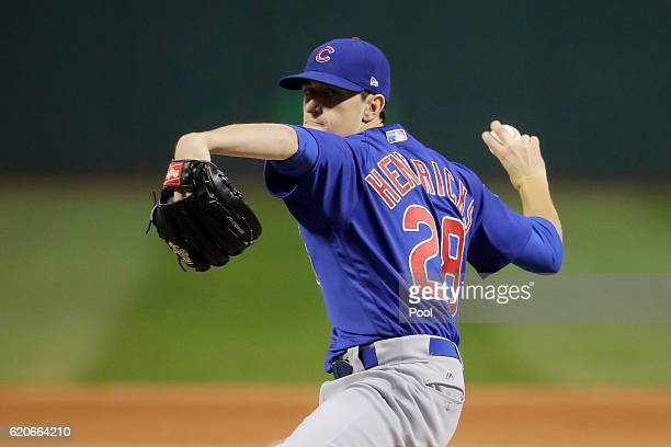 Kyle Hendricks of the Chicago Cubs pitches in the first inning against the Cleveland Indians in Game Seven of the 2016 World Series at Progressive...