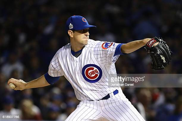 Kyle Hendricks of the Chicago Cubs pitches in the second inning against the Cleveland Indians in Game Three of the 2016 World Series at Wrigley Field...