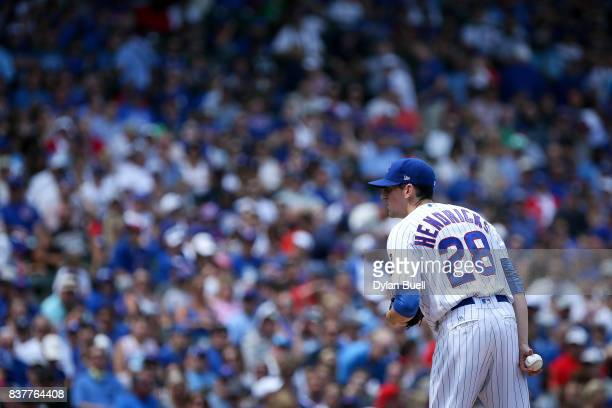 Kyle Hendricks of the Chicago Cubs pitches in the second inning against the Toronto Blue Jays at Wrigley Field on August 20 2017 in Chicago Illinois