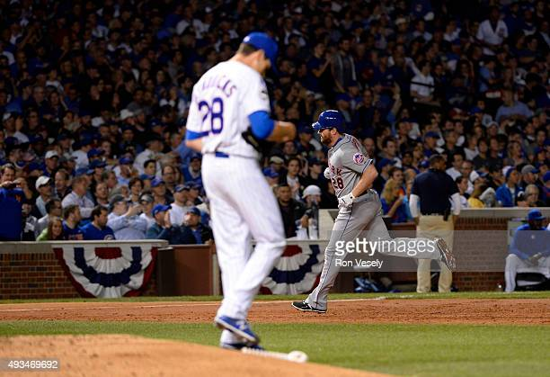 Kyle Hendricks of the Chicago Cubs reacts after Daniel Murphy of the New York Mets hit a home run in the top of the third inning of Game 3 of the...