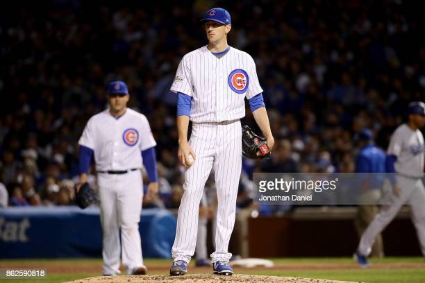 Kyle Hendricks of the Chicago Cubs reacts in the sixth inning against the Los Angeles Dodgers during game three of the National League Championship...