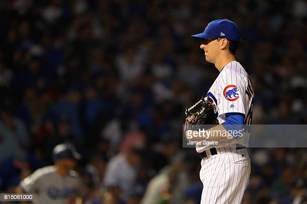 Kyle Hendricks of the Chicago Cubs stands on the pitcher's mound in the first inning against the Los Angeles Dodgers during game two of the National...