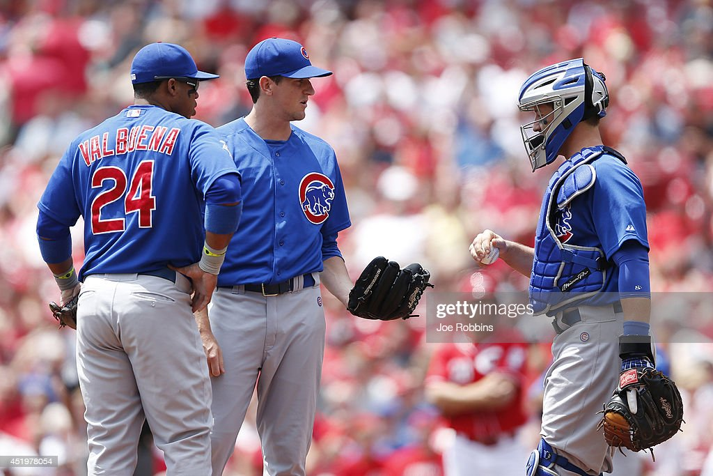 <a gi-track='captionPersonalityLinkClicked' href=/galleries/search?phrase=Kyle+Hendricks&family=editorial&specificpeople=9130544 ng-click='$event.stopPropagation()'>Kyle Hendricks</a> #28 of the Chicago Cubs talks with John Baker #12 and <a gi-track='captionPersonalityLinkClicked' href=/galleries/search?phrase=Luis+Valbuena&family=editorial&specificpeople=5537111 ng-click='$event.stopPropagation()'>Luis Valbuena</a> #24 after walking the first two batters in the first inning of the game against the Cincinnati Reds at Great American Ball Park on July 10, 2014 in Cincinnati, Ohio.