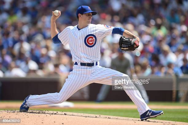 Kyle Hendricks of the Chicago Cubs throws a pitch during a game against the Toronto Blue Jays at Wrigley Field on August 20 2017 in Chicago Illinois...