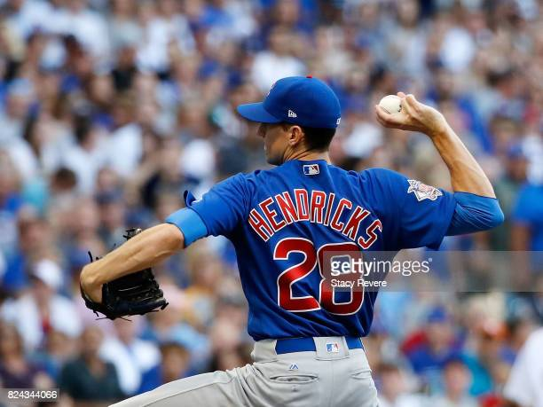 Kyle Hendricks of the Chicago Cubs throws a pitch during the second inning of a game against the Milwaukee Brewers at Miller Park on July 29 2017 in...