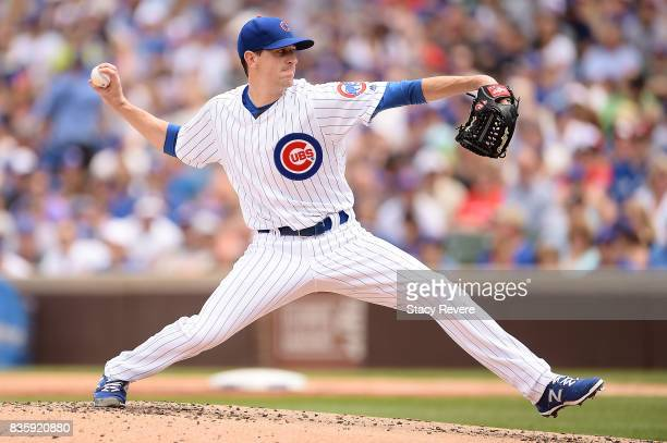 Kyle Hendricks of the Chicago Cubs throws a pitch during the second inning of a game against the Toronto Blue Jays at Wrigley Field on August 20 2017...