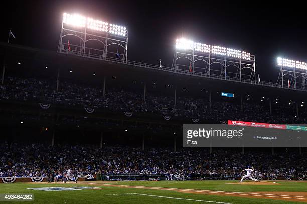 Kyle Hendricks of the Chicago Cubs throws a pitch in the first inning against the New York Mets during game three of the 2015 MLB National League...