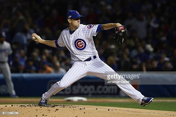 Kyle Hendricks of the Chicago Cubs throws a pitch in the first inning against the Los Angeles Dodgers during game six of the National League...