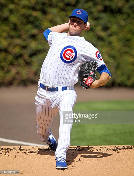 Kyle Hendricks of the Chicago Cubs warms up before the game against the Milwaukee Brewers at Wrigley Field on September 18 2016 in Chicago Illinois