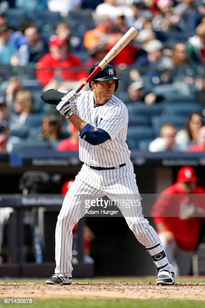 Kyle Higashioka of the New York Yankees at bat against the St Louis Cardinals at Yankee Stadium on April 15 2017 in the Bronx borough of New York...