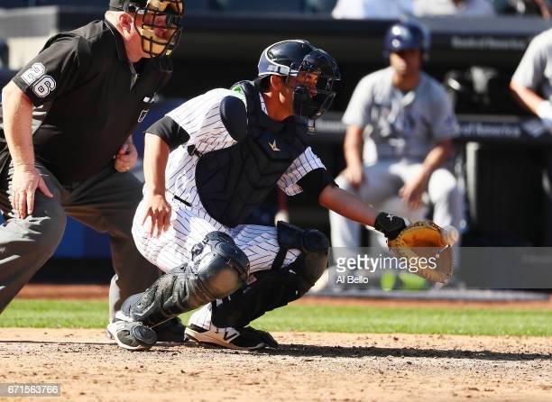 Kyle Higashioka of the New York Yankees during the New York Yankees home Opening game at Yankee Stadium on April 10 2017 in New York City