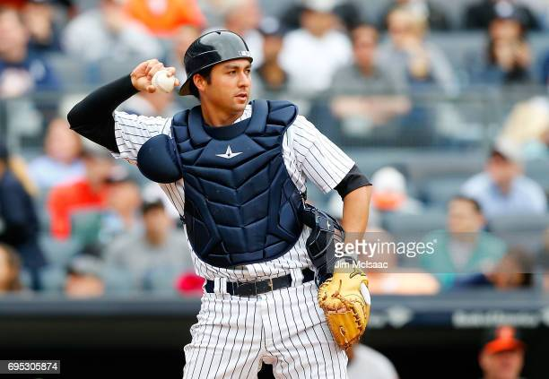 Kyle Higashioka of the New York Yankees in action against the Baltimore Orioles at Yankee Stadium on April 30 2017 in the Bronx borough of New York...