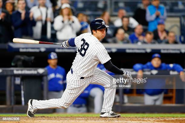 Kyle Higashioka of the New York Yankees in action against the Toronto Blue Jays at Yankee Stadium on May 3 2017 in the Bronx borough of New York City...